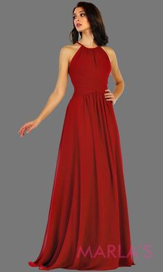 921235dcf4 Long red flowy high neck bridesmaid dress with an empire waist. This red  dress can