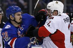 """In another classic example of the Madison Square Garden crowd, New York Rangers fans classicly chant """"sloppy seconds"""" towards Dion Phaneuf."""