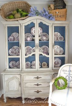 China Cabinet Refresh with Chicken Wire. China Cabinet Refresh with Chicken Wire Refinished China Cabinet, Repurposed China Cabinet, Farmhouse China Cabinet, Antique China Cabinets, Painted China Cabinets, Blue China Cabinet, Refurbished Furniture, Farmhouse Furniture, Rustic Furniture