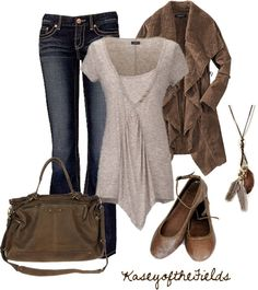 """Brown and Grey"" by kaseyofthefields ❤ liked on Polyvore"