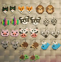 Animal Perler Earrings or Keychain Cat Fox by merkittenjewelry