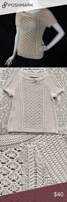 🆕NWT Loft open weave oatmeal sweater Love the beautiful texture in this short sleeve sweater! Soft oatmeal tan color. Shown her over a tan cami. Great condition, smoke free home. Please read my updated bio regarding my closet policies prior to inquires. LOFT Sweaters Crew & Scoop Necks