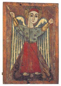 Coptic icon with an archangel Michael Byzantine Icons, Byzantine Art, Christian Symbols, Christian Art, Religious Icons, Religious Art, Images Of Christ, Art Brut, Archangel Michael
