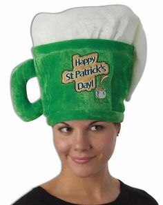 The Happy St. Patrick's Day beer mug hat is shaped like a big green, foamy beer mug and a fun way to celebrate St. Patrick's Day. One size fits most adults.