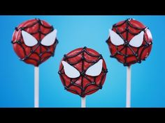 This quick and easy chocolate dipped Oreo recipe will awaken your Spidey senses! Spiderman Cookie Pops are a great way to save the day with sweetness! Spiderman Cookies, Spiderman Theme, Oreo Cookie Pops, Oreo Pops, Cake Pops, Cookie Pictures, Cupcakes, Red Candy, Candy Apples