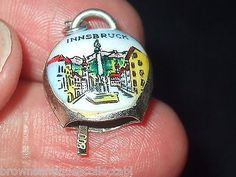 VINTAGE SILVER CHARM MOVING RINGING INNSBRUCK SWISS COWBELL GERMAN FOB PENDANT