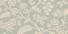Denbury (PW78029/2) - Baker Lifestyle Wallpapers - A simple stylised crewel embroidery floral trail design with a hand painted effect. Shown here in aqua and white. Other colourways are available. Please request a sample for a true colour match.