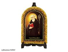 St. Benedict Holy art catholic art religious gift Baltic amber pictures holy icon prints on wood decorated with Baltic amber by PreciousAmber on Etsy