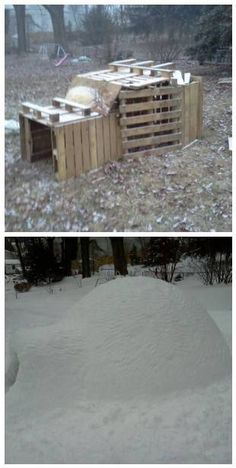 Before/After : Pallet Igloo ! #Igloo, #PalletIgloo, #PalletShed- you guys should sooo do this for next years winter!