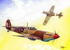 """Supermarine Spitfire Mk IX C por. pilot Bohdan Arct (3 zwycięstwa). Polski Zespół Myśliwski,,Cyrk Skalskiego"""" Supermarine Spitfire Mk IX C vs Macchi MC 202."""