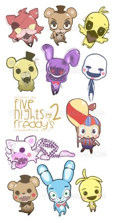 11 stickers of eleven characters from Five Nights At Freddy's 2! ^_^