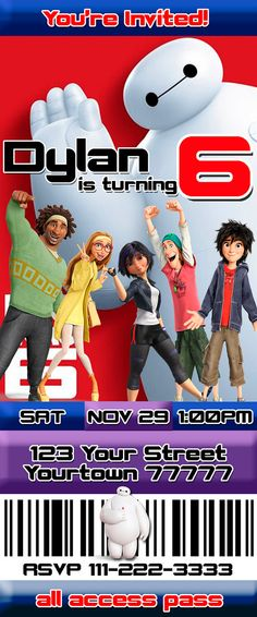 Big Hero 6 Ticket Invitation Big Hero 6 Party. Southern Outdoor Cinema event planning tip for inviting guests to your outdoor movie event.