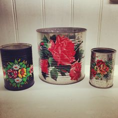 Soon to debut on Etsy...!  Shabby chic, gipsy, wedding, recycle, reuse, tins, tin can, floral, canal boat, narrow boat, vintage, rust, pots, storage