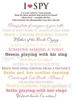 Custom Printable I Spy Wedding Photos Card by StaceCadetDesigns, $15.00