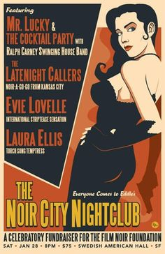"""This sounds like a fun organization: http://www.noircity.com. """"...created as an educational resource regarding the cultural, historical, and artistic significance of film noir as an original American cinematic movement. It is the mission of the Foundation to find and preserve films in danger of being lost or irreparably damaged, and to ensure that high quality prints of these classic films remain in circulation for theatrical exhibition to future generations."""""""