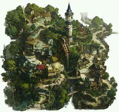 A mill village in the mountains https://www.artstation.com/p/l6wwG hee uk Jung environment concept artist -- Share via Artstation Android App, Artstation © 2016