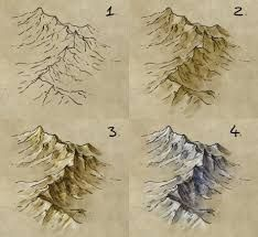 draw, shade, and colour a mountain range How to draw mountains on Fantasy Maps, by map cartography resource tool how to tutorial instructions Fantasy World, Fantasy Art, Fantasy Rooms, Art Sketches, Art Drawings, Fantasy Map Making, Rpg Map, Mountain Drawing, Mountain Sketch
