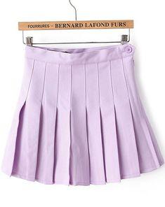 Purple High Waist Pleated Skirt - Sheinside.com