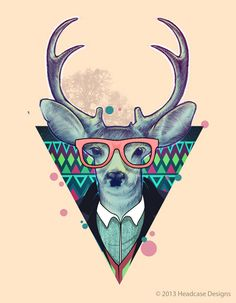 Os animais Hipsters do designer Bernard Salunga. + https://www.behance.net/bernardsalunga