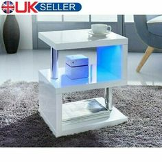HIGH GLOSS BLACK Coffee Table with LED Lighting - Tiffany Range TIFF010 - £229.97 | PicClick UK Glass Side Tables, White Side Tables, Glass Dining Table, Console Table, Living Room End Tables, Living Room Furniture, Living Room Decor, Diy Furniture, Black Coffee Tables