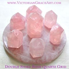 $148 SOLID Pink ROSE QUARTZ Crystal GRID and 7 Points layout Template Charging Plate Stand Manifesting Healing Energy Cleansing LOVE Generator
