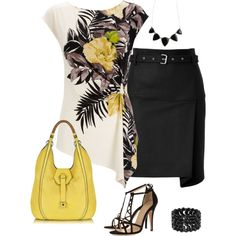 """""""Tropical Cream Top"""" by daiscat on Polyvore -- yellow, white & black are so in!"""