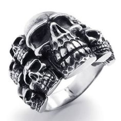 Size 11, KONOV Jewelry Biker Mens Gothic Skull Stainless Steel Ring, Black Silver. Check it out at skullcart.com #skull #skulls #ring #skullcart #jewelry