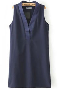 Navy V Neck Sleeveless Straight Dress - click through for buying info.