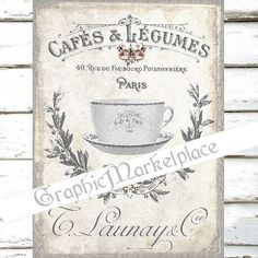 French Cafe Tea Pot Logo Large Image Instant by GraphicMarketplace