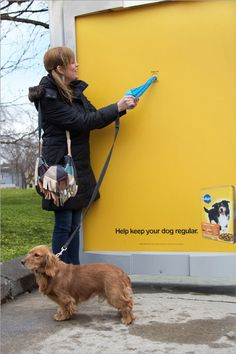 During the month of March, Pedigree, with help from Proximity BBDO, erected bus shelters in Toronto that dispensed bags for dog owners to pick up their dog's poop. Bus Stop Advertising, Guerrilla Advertising, Clever Advertising, Advertising Design, Advertising Campaign, Street Marketing, Guerilla Marketing, Marketing Ideas, Bus Shelters