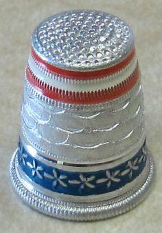 Vintage Austrian Thimble Red White Blue Mint | eBay