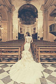 julia kontogruni bridal 2015 wedding dress jewel lace neckline with bustier bodice mermaid gown chapel train back