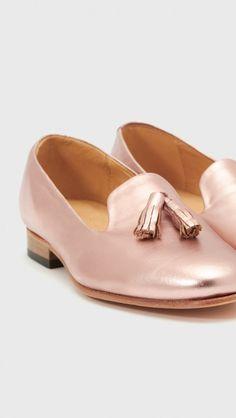 Dieppa Restrepo Metallic Gaston Loafers in Metallic Rose Gold   The Dreslyn
