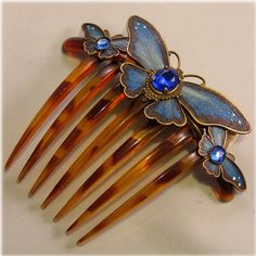 Titanic Hair Comb Accessories - Handcrafted Blue Butterfly Downton Abbey style hair comb (Wedding Jewelry)