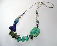 Ocean Muse:  flourite, chrysocolla, apatite, lapis, artisan lampwork beads, vintage trade beads, fine silver on hand-plied unbleached linen cord; Kathy Van Kleeck