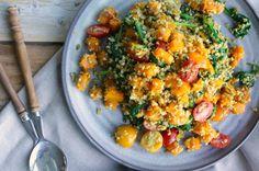 Freekeh salade met geroosterde pompoen en spinazie - Francesca Kookt