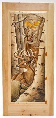 Hand carved Doors - Buck & Doe in Birch Trees Painted Interior Doors, Painted Furniture, Unique Furniture, Rustic Furniture, Rustic Doors, Wooden Doors, 3d Cnc, Old Doors, Front Doors
