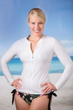 Kasana Sea - Ladies Plain White Zip Up Rash vest - Babes in the Shade, $59.00 (http://www.kasanasea.com.au/ladies-plain-white-zip-up-rash-vest-babes-in-the-shade/)