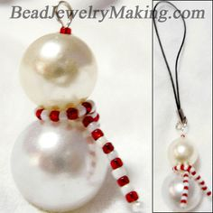 This Beaded Snowman is easy and simple created using different type of beads, great for Christmas tree decoration, earrings, brooch, pendant, charm and mobile phone accessory. I used two different sizes of pearls, white and red color seed beads.