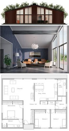 Small House Plan - House Plans, Home Plan Designs, Floor Plans and Blueprints House Plans One Story, Best House Plans, Tiny House Plans, Modern House Plans, House Floor Plans, Modern Garage, Contemporary Home Plans, Small House Plans Under 1000 Sq Ft, Story House