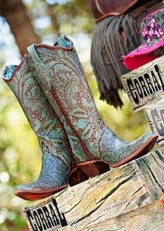 Corral Boots C1060 Turquoise Engraved Lace Tube
