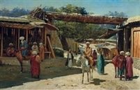 Richard Karlovich Zommer (Russian, 1866–1939) Title: Street scene, Samarkand, Turkestan