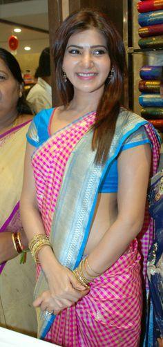 Samantha in pink and yellow checks silk saree with blue border
