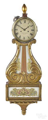 Federal lyre-form striking banjo timepiece Small Furniture, Banjo, Clocks, Auction, Federal, Watches, Clock, Banjos