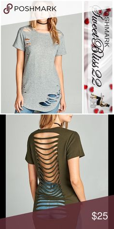 Grey Distressed Top SHORT  SLEEVE ROUND NECK DISTRESSED LADDER CUT-OUT BACK FRENCH TERRY TOP. Comes in Wine, Dusty Rose, Heather Gray, and Olive Green. This listing is for the color gray ⭐️Small measures 38 inches in the bust ⭐️Medium measures 40 inches in the bust.  ⭐️ L measures 42 inches in the bust. The second pic shows what the back of this top looks like. The back is gray, but there wasn't a stock pic available  Tops