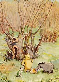 Classic Pooh with Piglet and Eeyore  On the edge of fearyland where the fearies have stored honey.