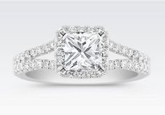 Princess Cut Diamond Square Engagement Ring with Halo Diamonds