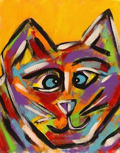 Cross Eyed Cat Original Painting ©W.Rosson #decor #fun #cats #pets