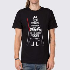 We bet you didn't know that the serial number on Darth Vader's suit of armor was E-3778Q-1... Well now you do! Check out this men's Darth Vader t-shirt now!