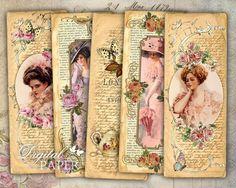 Señora flor - collage digital de imagen Vintage - juego de 6 marcadores - - archivo JPG para imprimir